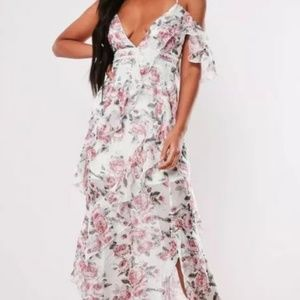 Missguided Dresses - MIssguided pink floral print ruffle maxi dress